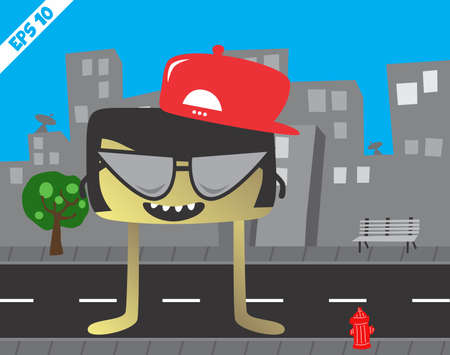 funky little monster in the city Vector