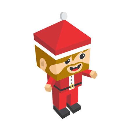 body dimensions: isometric santa claus christmas cartoon character