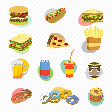 食べ物や飲み物のテーマ漫画イラスト  イラスト・ベクター素材