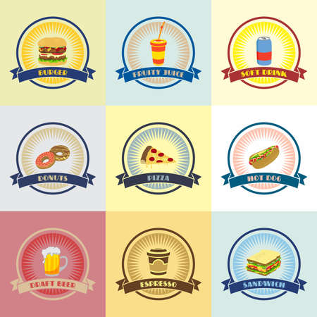 food and drink theme cartoon illustration Vector