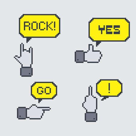 gesture pixel hand Vector