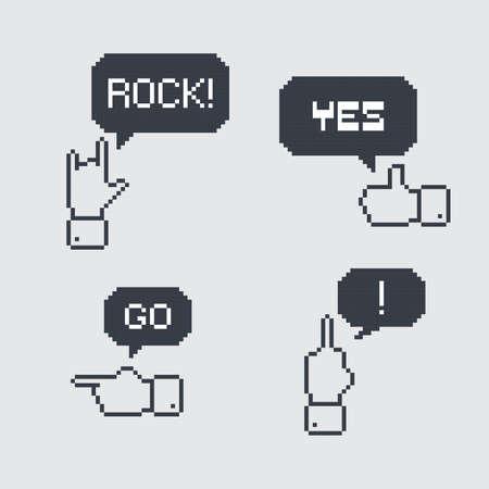 pixel art gesture Vector