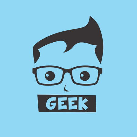funny bearded man: geek cartoon character