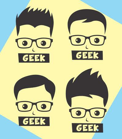 geek: nerd geek cartoon Illustration