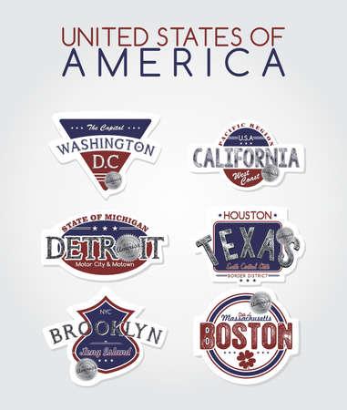 america state label Vector