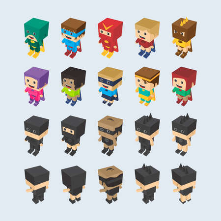 villain: hero and villain cartoon character set