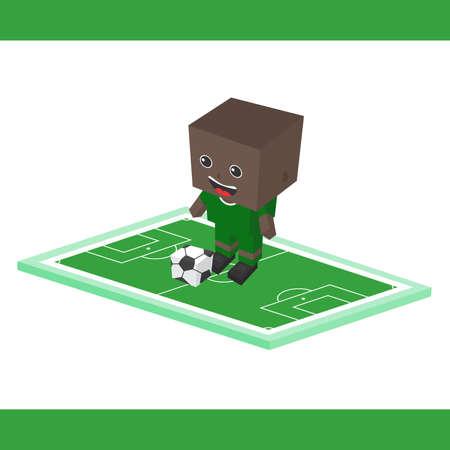 Striker: piłka nożna napastnik chłopak kreskówki Ilustracja