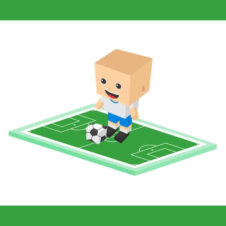 Striker: Piłka nożna napastnik chłopak kreskówki