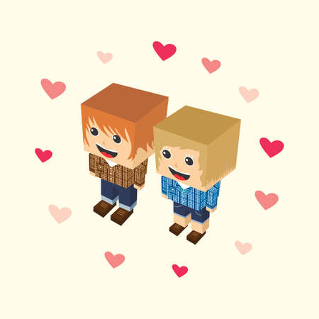 middle aged couple: love couple block cartoon isometric character
