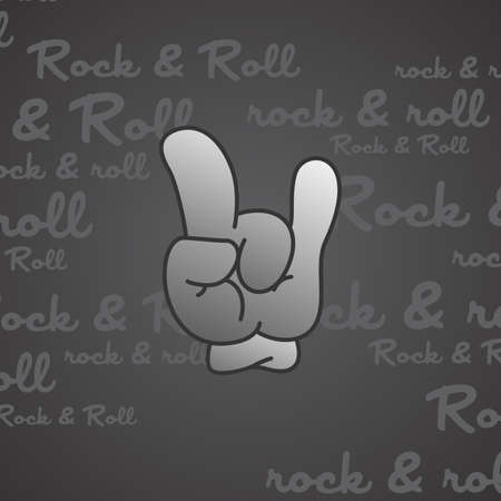 rock and roll theme hand gesture vector art illustration  イラスト・ベクター素材