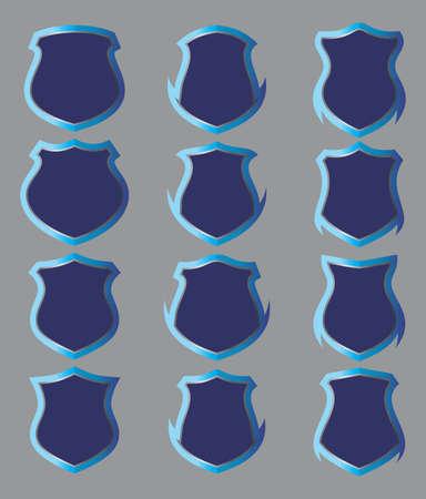 shield set: insignia blue shield set Illustration