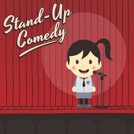comedian: female stand up comedian cartoon character vector illustration