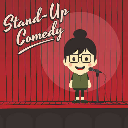 animation teenagers: female stand up comedian cartoon character vector illustration