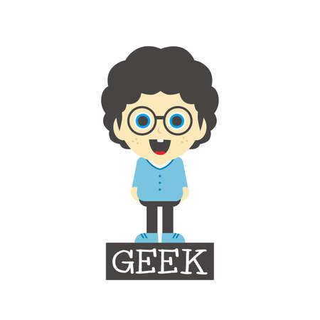 geek boy cartoon character theme vector art illustration Vector