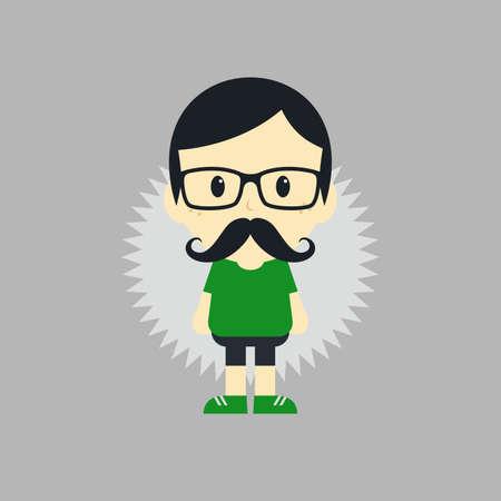 mustache young man theme vector art graphic illustration Illustration