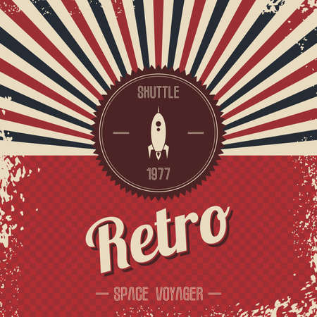 flames background: retro space rocket template theme vector art illustration