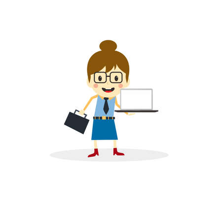salesperson: cartoon character with laptop
