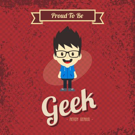 joking: genius geek retro cartoon Illustration