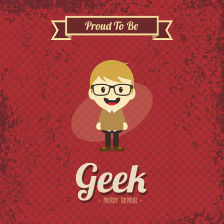 stereotypical: genius geek retro cartoon Illustration