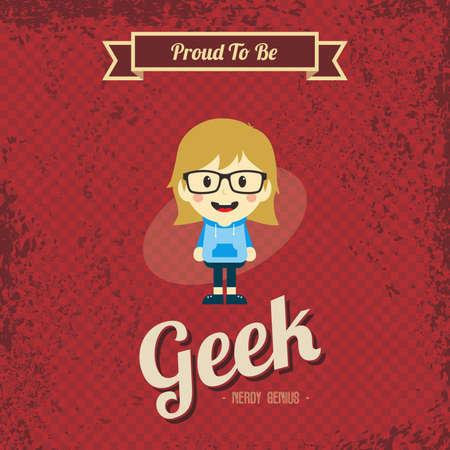 genius geek retro cartoon Vector