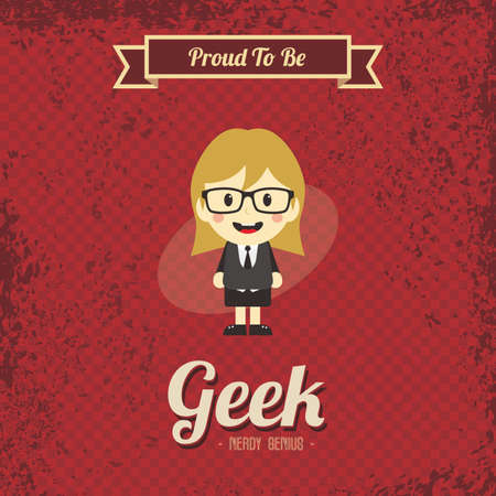 joking: genius geek retro cartoon Illustration