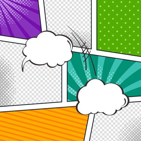 スピーチの泡やハーフトーンの芸術と漫画テンプレート要素  イラスト・ベクター素材