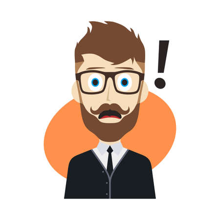 surprise face: guy surprise avatar user picture cartoon character vector illustration