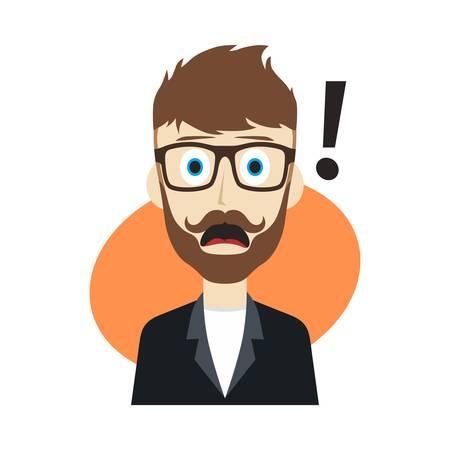 sorpresa: chico sorpresa usuario avatar Ilustraci�n personaje de dibujos animados imagen vector Vectores