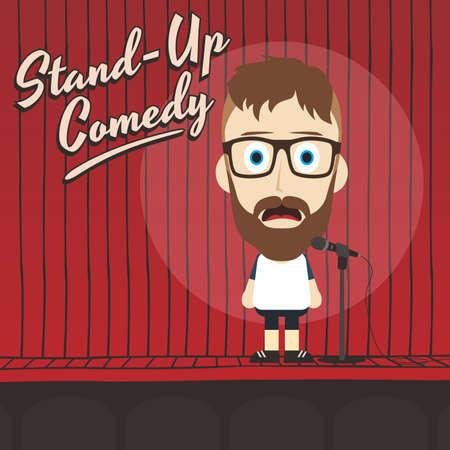 男性のスタンド アップ コメディアン漫画キャラ ベクトル イラスト