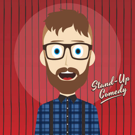 male stand up comedian cartoon character vector illustration Illustration
