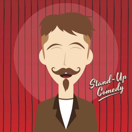 comedian: male stand up comedian cartoon character vector illustration Illustration
