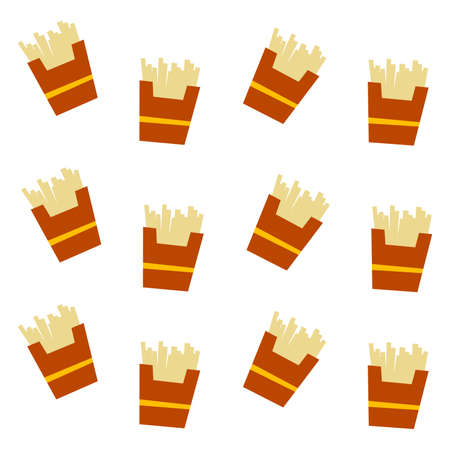 french fries pattern set theme vector art illustration Vector
