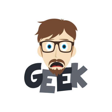 inventor: geek male cartoon theme vector art illustration