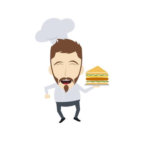 adult sandwich: master chef cartoon character theme vector art illustration Illustration