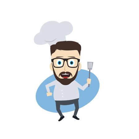 master chef: master chef cartoon character theme vector art illustration Illustration