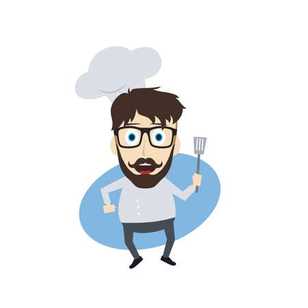 master chef: master chef cartoon character theme vector art illustration Illustration