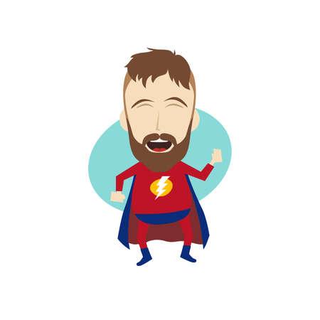 commercial activity: superhero cartoon character theme vector art illustration Illustration