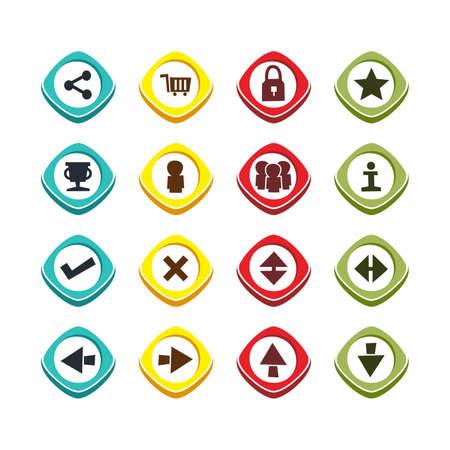 users video: icon button set theme vector art illustration