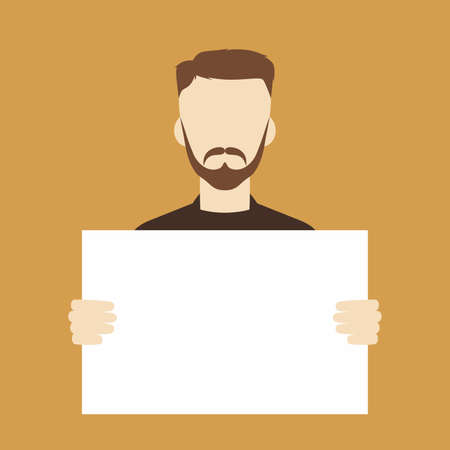 people holding sign: man with blank sign theme vector art illustration