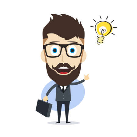 pondering: businessman cartoon character theme vector art illustration