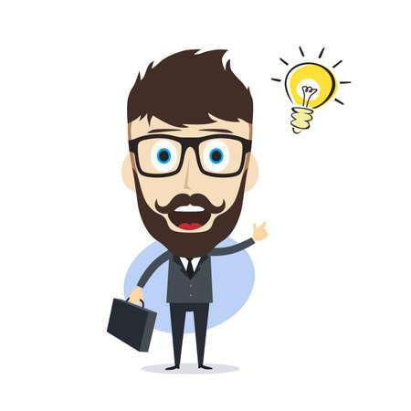doubtful: businessman cartoon character theme vector art illustration