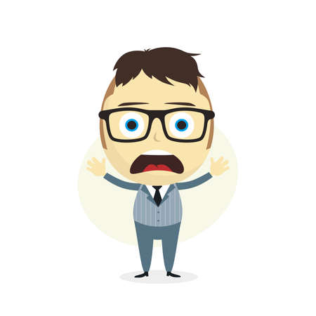 ignorance: clueless businessman cartoon character theme vector art illustration