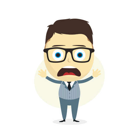 speculating: clueless businessman cartoon character theme vector art illustration
