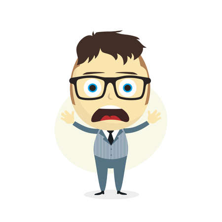 clueless: clueless businessman cartoon character theme vector art illustration