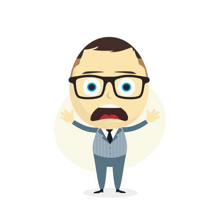 indecisive: clueless businessman cartoon character theme vector art illustration
