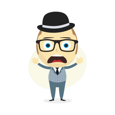 shoulder problem: clueless businessman cartoon character theme vector art illustration
