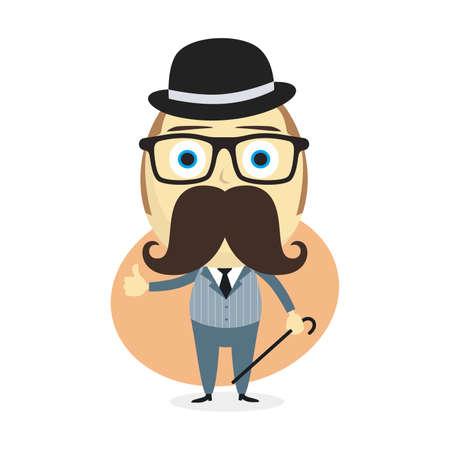 tophat: true gentleman cartoon character theme vector art illustration