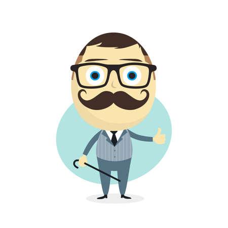 cartoon hat: true gentleman cartoon character theme vector art illustration