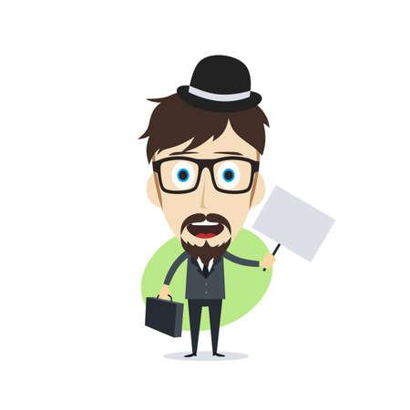 superacion personal: feliz hombre de negocios de dibujos animados tema de car�cter ilustraci�n de arte vectorial Vectores