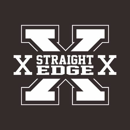 straight edge: straight edge hardcore sign theme vector art illustration